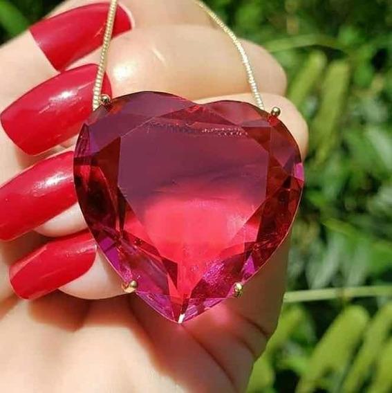 Colar Feminino Coração Zircônia