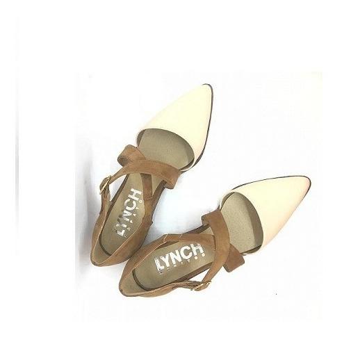 Zapato Mujer En Punta Cuero Nude Gamuza Suela Lynch #112
