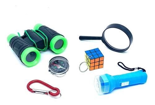 Imagem 1 de 1 de Kit Aventura Binoculo Infantil Verde 6 Itens