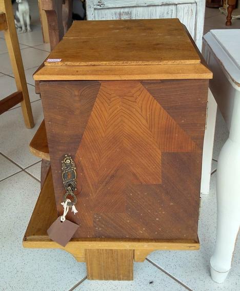 Criado Mudo Antigo Art Déco Em Madeira Imbuia C/ Marchetaria
