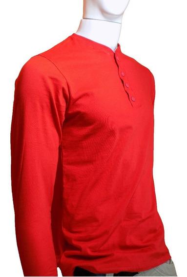 Camiseta Masculina Manga Longa Gola Henley 100% Algodão