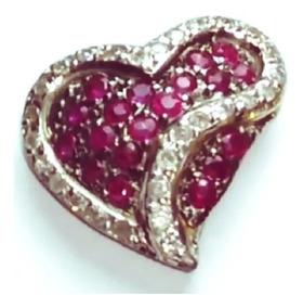 Colar Coração Em Ouro Branco 18k Com Rubi E Diamantes