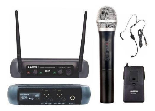 Kit Microfone Sem Fio Uhf Ksr 0002-d Head 13,60