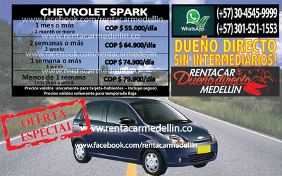 Dueño Directo Alquiler Renta Carro Medellin Dde $55.000/dia