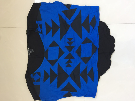 Remera Top Basico Ancho Azul Y Negro Forever 21