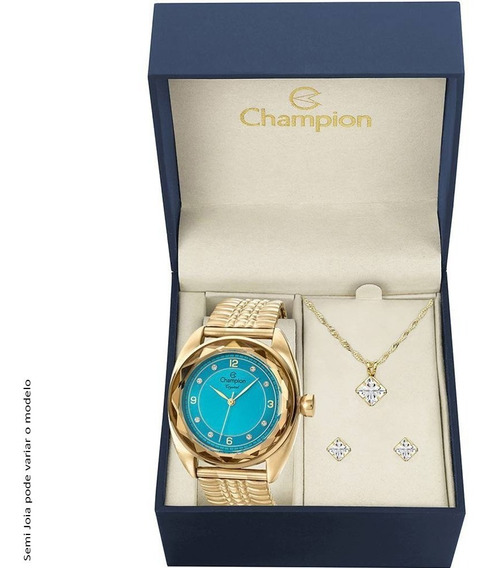 Kit Relógio Champion Feminino Azul Brincos Cn27858y À Vista