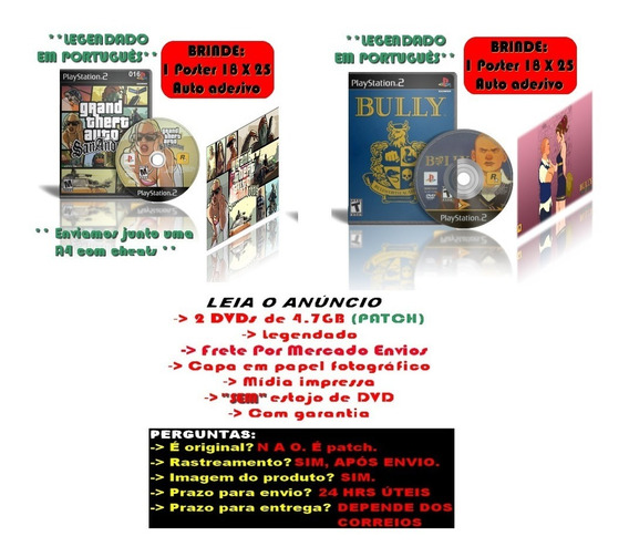 Kit Gta San Andreas + Bully Para Ps2 + Brinde