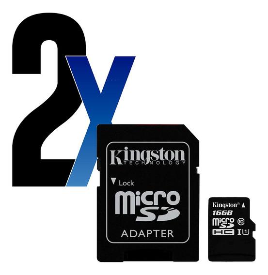Cartão Memória Microsdhc 16gb 80mb/s Kingston 2un
