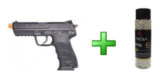 Pistola Airsoft H&k Umarex Hk45 Kwa + Bbs Tróia 0.20/2000