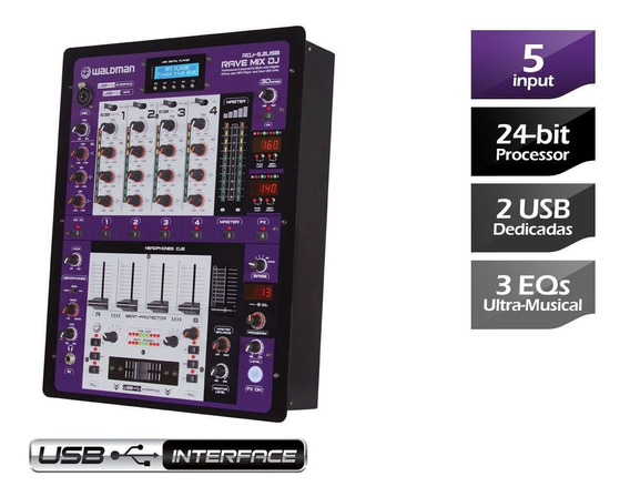 Mixer Para Dj Waldman Rdj-5.2usb Com Interface De Áudio