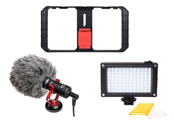 Estabilizador Suporte Para Celular + Microfone Boya By-mm1 + Led Light 96 Kit Steadicam