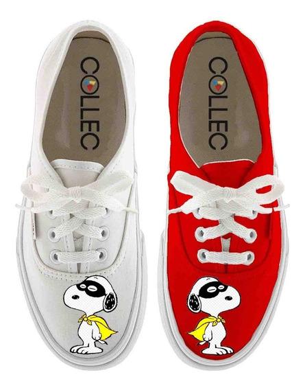 Zapatos Dama Classic Snoopy Superheroe Pintados A Mano