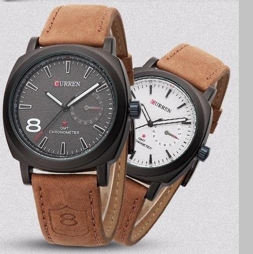 Relógio De Pulseira De Couro Cronômetro Curren 8139