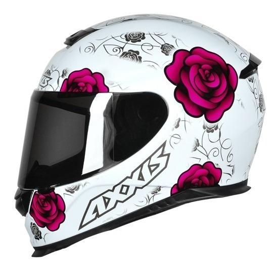 Capacete Moto Mt Axxis Eagle Flowers Branco/rosa 60/l