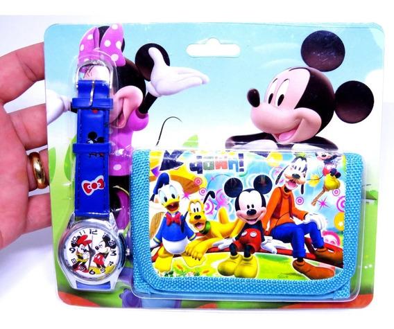 Relógio + Carteira 3d Minnie Mouse Analógico Azul Oferta 005