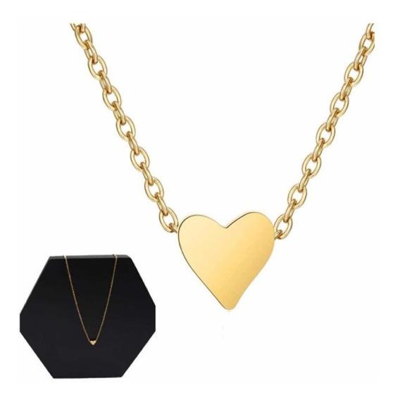 Regalo Dama Mujer Collar Dije Corazón Chapa Oro 14 Bisuteria