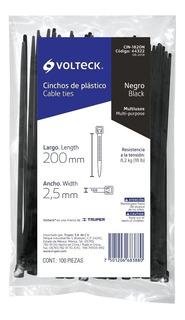 Precinto Plastico Negro Volteck 100und 2.5x200mm Cin-1820n