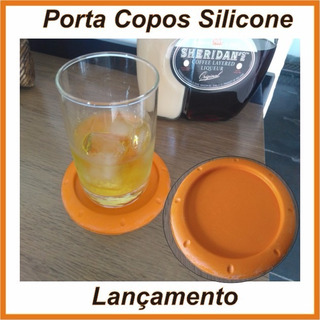 Porta Copos Silicone Liso - Kit C/ 4 Un