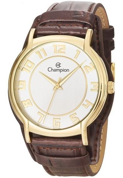 Relógio Champion Cn20319s Dourado Couro Marrom Original