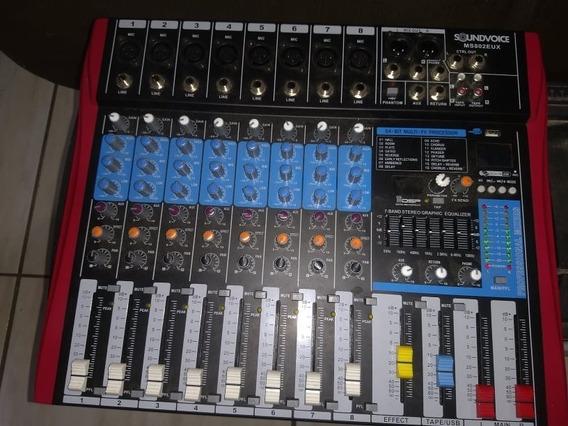 Mesa De Som Soundvoice 8 Canais Ef /eq - Grava Pendrive