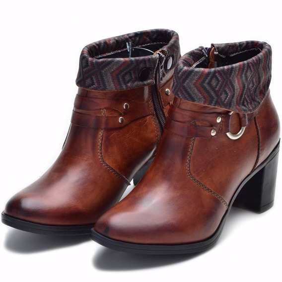 Bota Feminina Cano Curto Bm Brasil Ankle Boot Couro - 2050