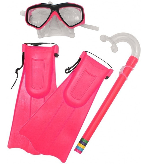 Kit De Mergulho Infantil Snorkel C/ Máscara E Nadadeira Gus