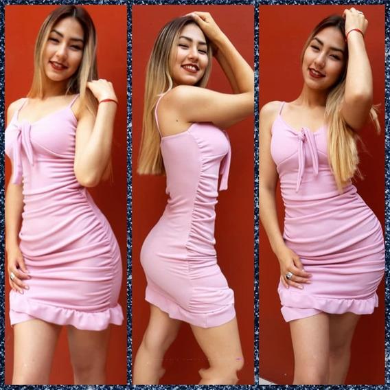 Vestido Liso Mujer De Fiesta Al Cuerpo Crepe Varios Colores