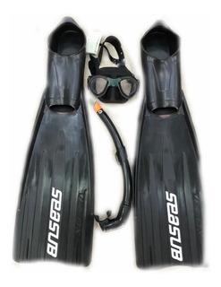 Kit Mascara Silicone + Snorkel + Nadadeira Velox