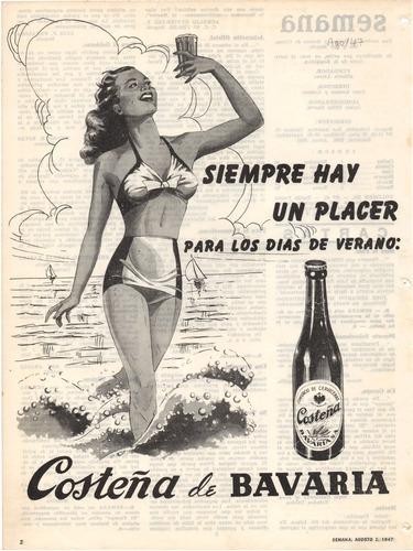 Cerveza Bavaria Costeña Antiguo Aviso Publicitario De 1947