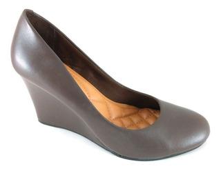 Sapato Anabela Via Uno Confort Marrom