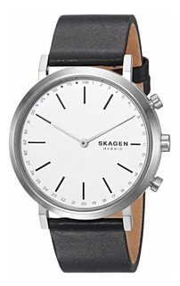 Relógio Skagen Black Leather Hybrid Smartwatch Importado