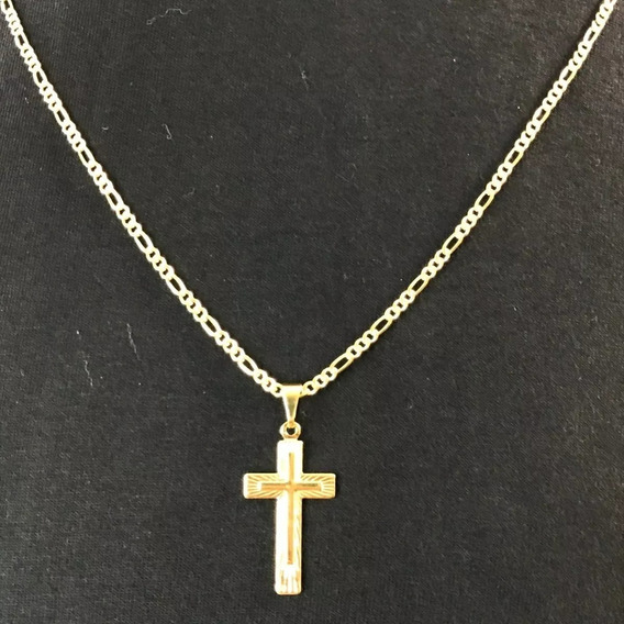 Cordão Masculino Banhada Ouro 18k + Pingente Crucifixo