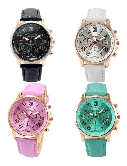 Relógio Promoção Dourad Feminino Geneva Novo Pct C/ 8 Unds