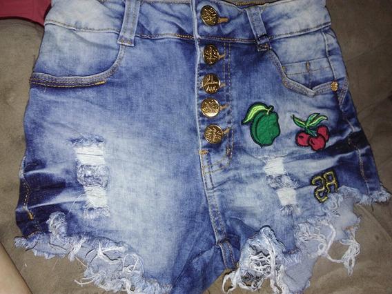 Bermuda Jeans Bordada Cintura Alta Tamanho 34 Novissima