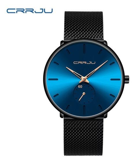 Relógio Masculino Crrju Resistência À Água C/ Pulseira Preta