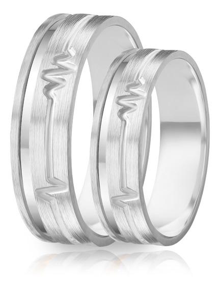 Alianças De Namoro Prata 950 Escovada Com Batimentos 6.0 Mm