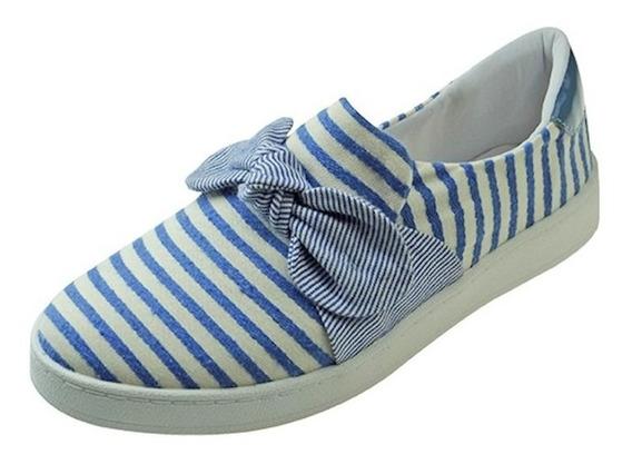 Tênis Slip On Listrado Com Laço - Azul E Branco