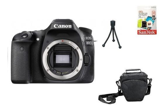 Canon 80d Aps-c 24.2mp Wifi (corpo) 32gb Bolsa Tripé Novo