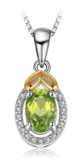 Dije Gema Peridoto Auténtico Ak Jewelry Plata 925 Oro 18k
