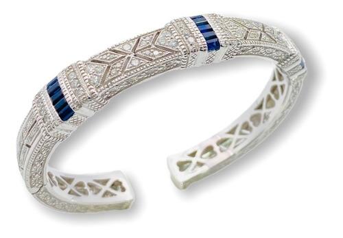 Pulsera Brazalete Para Mujer Oro Blanco, Diamantes.