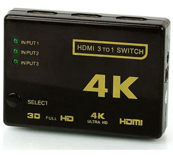 Chaveador Seletor Hub Switch Hdmi 3x1 C/ Controle Remoto Hd