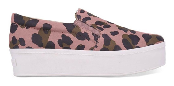 Tênis Slip On Flatform Animal Print Nobuck Carrano Feminino 162201
