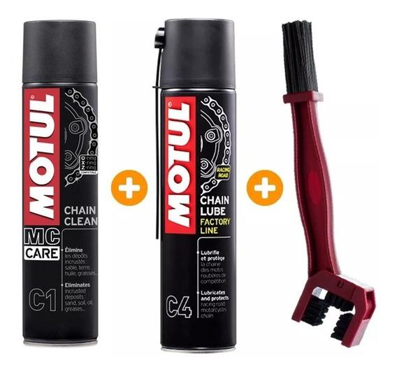 Kit Motul C1 + C4 + Escova Para Limpeza De Corrente Motos