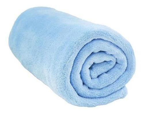 Imagem 1 de 5 de Manta Confort Baby Macio Lisa Azul Bebê Hazime 90cmx110cm
