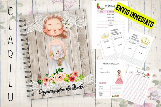 Kit Imprimible Agenda Organizadora De Boda / X4 Kit Editable