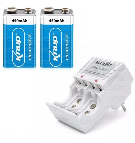 Kit Carregador De Pilha Bateria + 2 Baterias 9v Recarregavel
