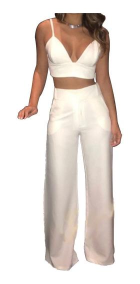 Conjunto Feminino Branco Blusa Calça Festa Blogueira #cj25