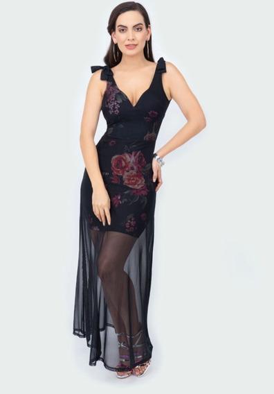 Vestido Negro Multicolor 027-251 Terra Primavera-verano 2020