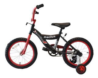 Macilux Bicicleta Rodada 16 Para Niños Con Llantas Entrenadoras Envio Gratis