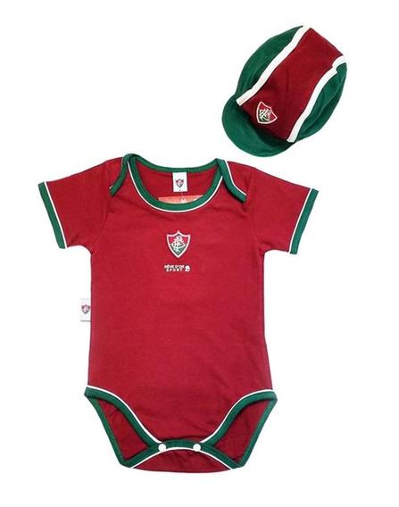 Kit Bebê Fluminense Com Body E Boné Oficial